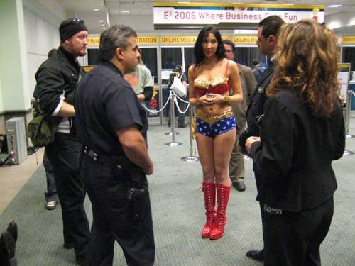 The E3 clean-up was as harsh as it was undiscriminating, this woman wasn't even being paid to dress like that.