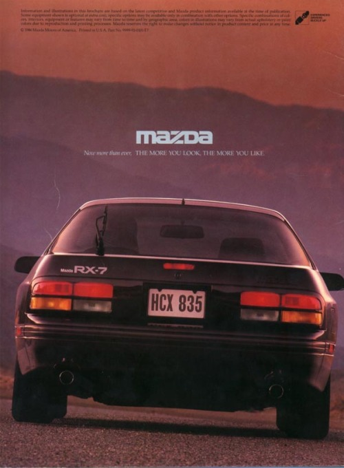 Mazda RX-7 Print Ad, circa 1980s